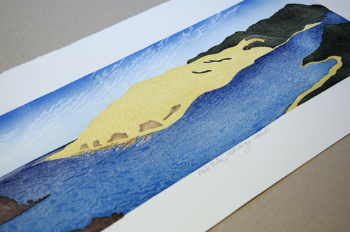 Allan Gale Kura Gallery Maori Art Design New Zealand Aotearoa Printmaking Limited Edition Woodcut Print Ebb Tide Hokianga Heads