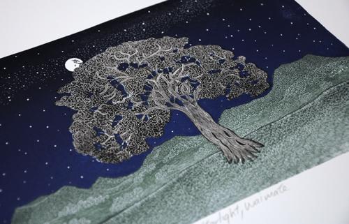 Allan Gale Kura Gallery Maori Art Design New Zealand Aotearoa Printmaking Limited Edition Woodcut Print Starlight Waimate