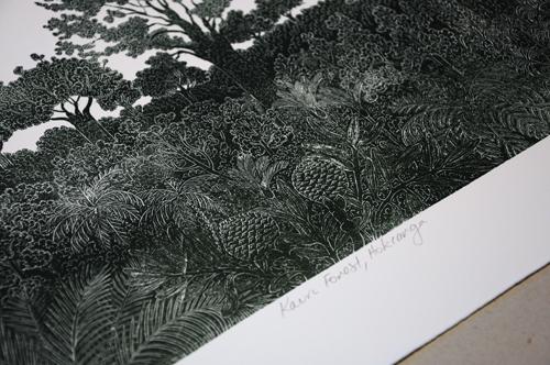 Allan Gale Kura Gallery Maori Art Design New Zealand Aotearoa Printmaking Limited Edition Woodcut Print Kauri Forest