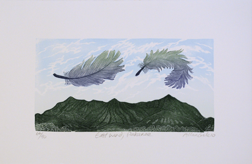 Allan Gale Kura Gallery Maori Art Design New Zealand Aotearoa Printmaking Limited Edition Woodcut Print East Wind