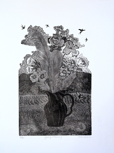 Allan Gale Kura Gallery Maori Art Design New Zealand Aotearoa Printmaking Limited Edition Woodcut Print Spring Morning