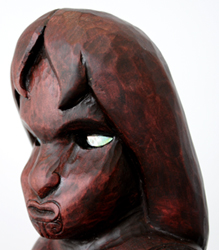 Sunnah Thompson Kura Gallery Maori Art Design New Zealand Carving Kauri Tekoteko Female head