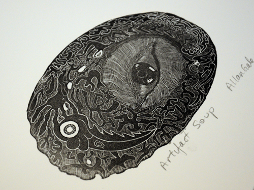 Allan Gale Kura Gallery Maori Art Design New Zealand Aotearoa Printmaking Limited Edition Woodcut Print Artifact Soup