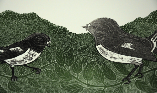 Allan Gale Kura Gallery Maori Art Design New Zealand Aotearoa Printmaking Limited Edition Woodcut Print Tomtits