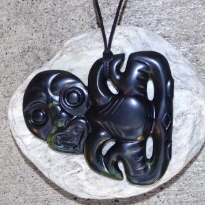 Maori tiki pendant carved from NZ greenstone, by Al Brown