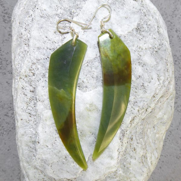 Greenstone niho earrings by Alex Sands