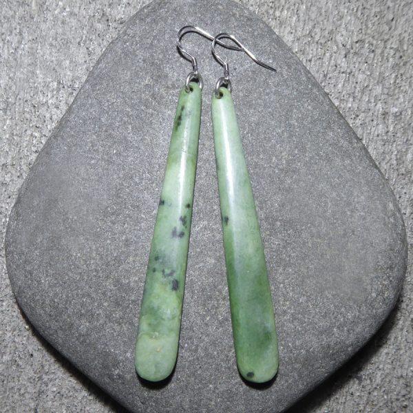 NZ greenstone drop earrings by Alex Sands