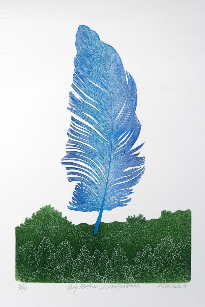Print of large blue feather by Allan Gale