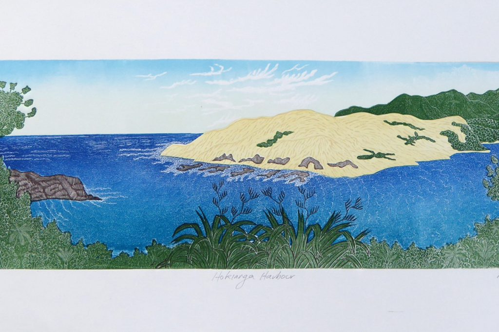 Colourful print of the Hokianga Harbour by Allan Gale