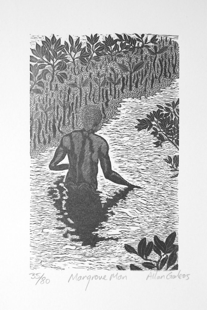Black & white print of a man wading in mangrove swamp by Allan Gale