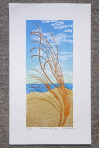 Colourful print of a beach scene, called 'Summer Breeze', by Allan Gale