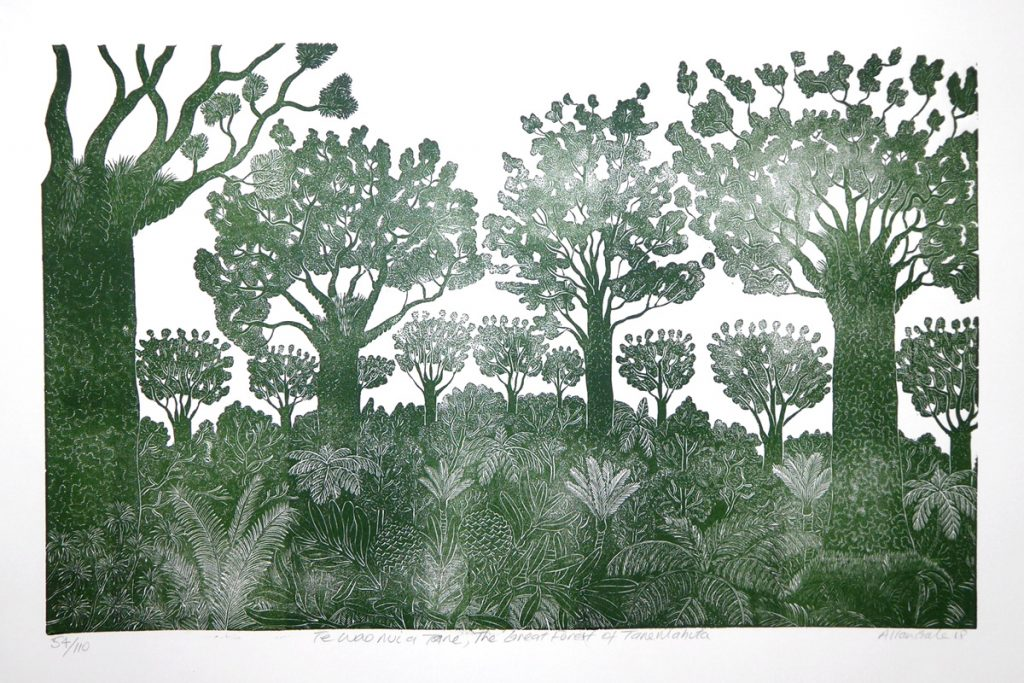 Print of a forest scene by Allan Gale