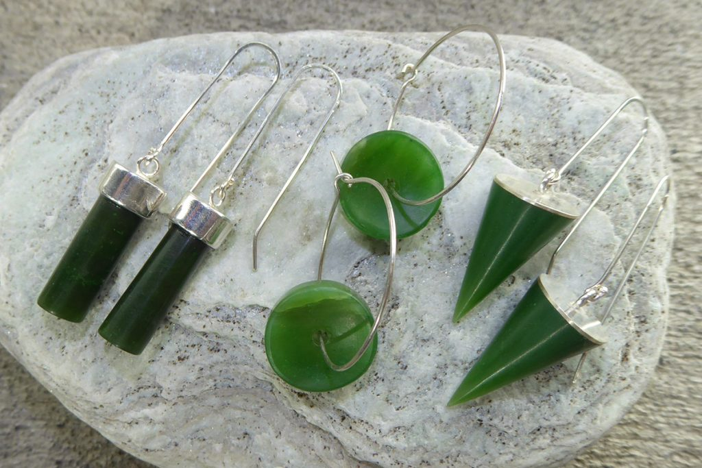 Greenstone & silver earrings by Ana Krakosky