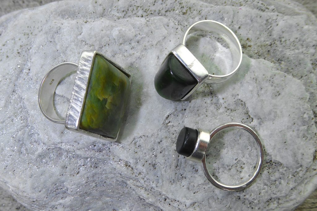 Greenstone & silver rings by Ana Krakosky