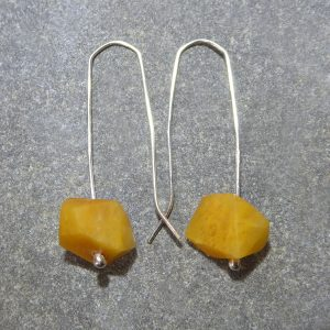 NZ yellow quartz and silver earrings by Ana Krakosky
