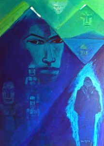 Colourful painting by Darcy Nicholas called Pihanga Meets Taranaki