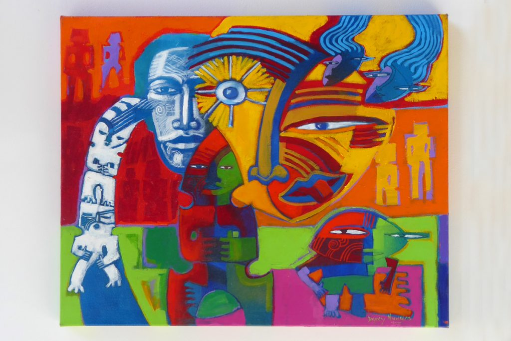 Brightly coloured painting called 'Storyteller' by Darcy Nicholas