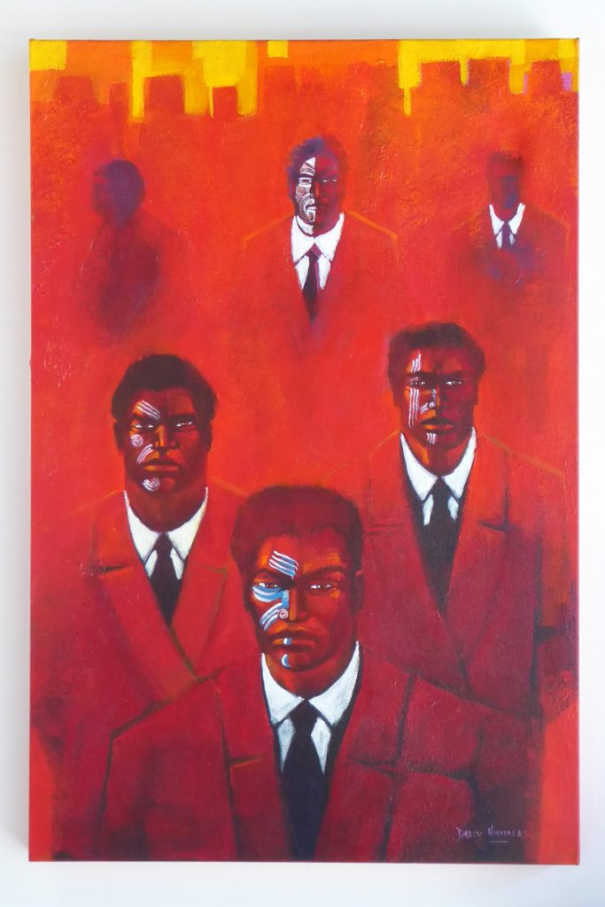 Brightly coloured painting called 'Urban Warriors' by Darcy Nicholas