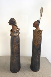 Clay maori figures by Fiona Bryant