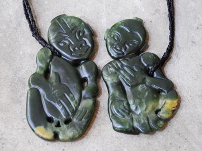 Flower Jade Hei Tiki pair a