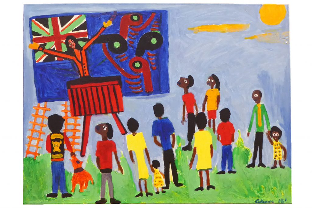 Colourful painting called 'Jacinda's Plan' by George Kiwara