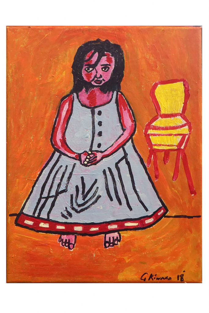 Colourful painting with young girl called 'Maori Foster Child' by George Kiwara