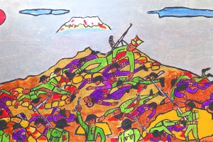 Brightly coloured painting called 'The Death of Ngarimu' by George Kiwara