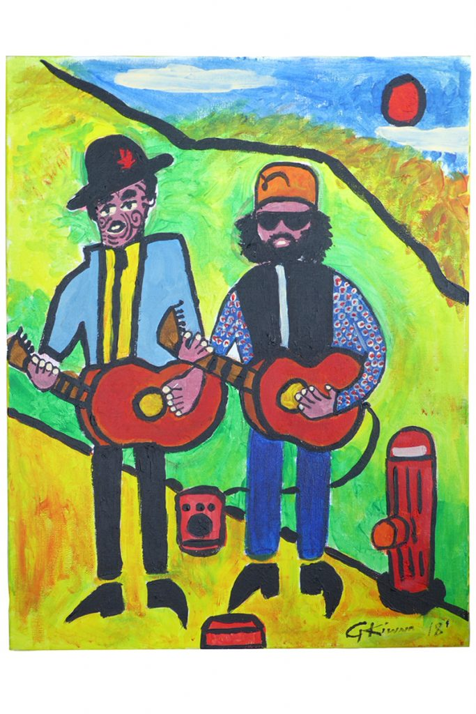 Brightly coloured painting called 'Busking In The Park' by George Kiwara