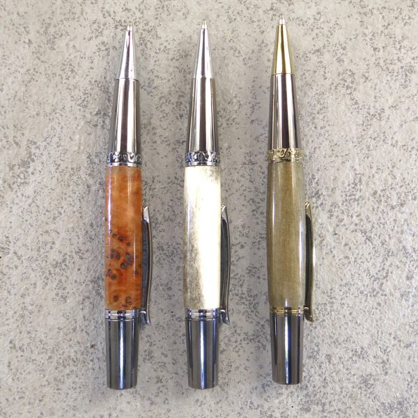 Pens with hand-crafted barrels by Hugh Mill