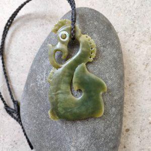 NZ greenstone manaia pendant by Alex Sands