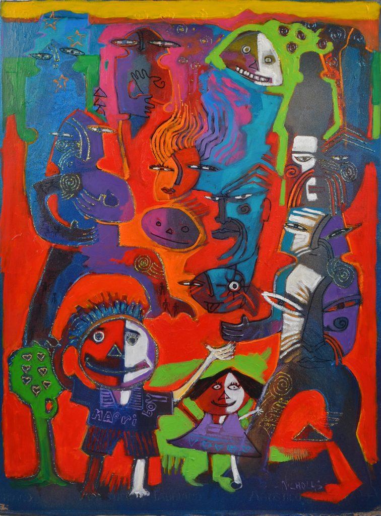 Painting by Darcy Nicholas called Mokopuna II Series