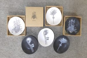 Mini ceramic bowls with NZ native plant designs by Jo Luping from Kura Gallery