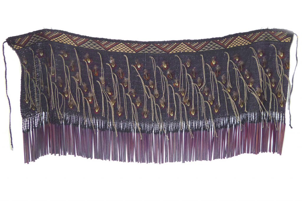 Traditional maori garment woven from flax, by Jude Te Punga Nelson.