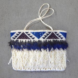 Woven maori kete or bag by Jude Te Punga Nelson