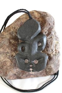 Tiki carved from onewa stone by Keiron Toa
