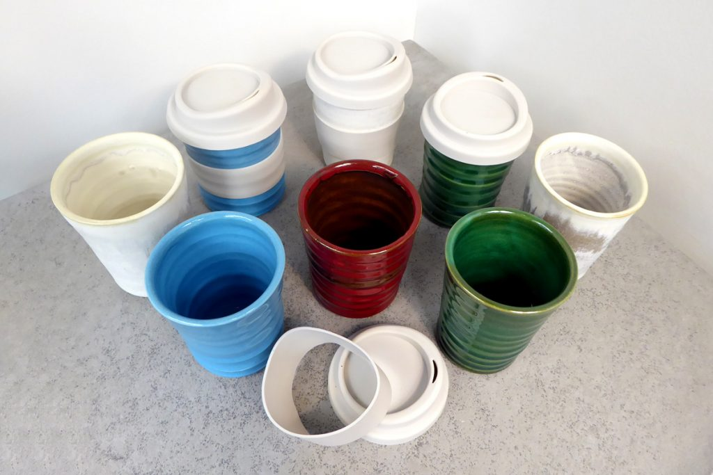 Coffee keep cups by Kim Morgan Pottery