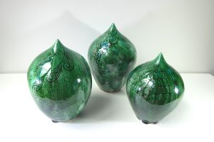 Green pottery 'seed pods' by Maria Brockhill