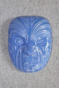 Blue ceramic maori mask by Michael Matchitt