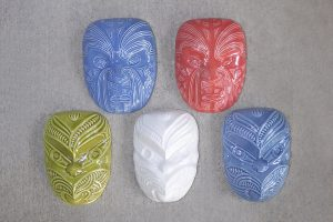 Ceramic maori wheku & masks by Michael Matchitt