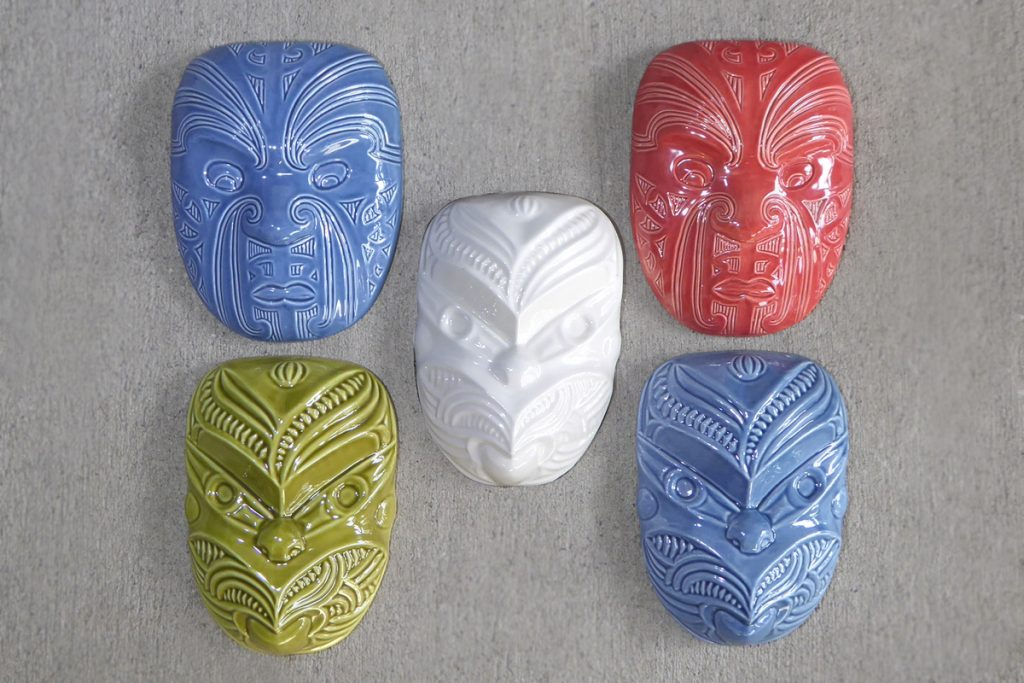 Ceramic maori wheku & masks by Michael Matchitt