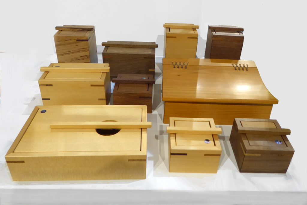 Crafted wooden boxes by Peter McLean
