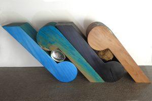 Wood sculpture called 'Ocean Waves' by Peter Radley