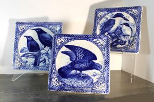 Square ceramic plates with NZ birds in blue