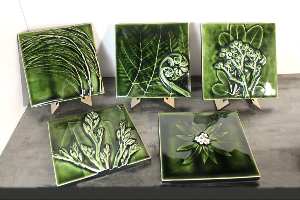 Green Tiles with NZ native plants by Porteous Tiles