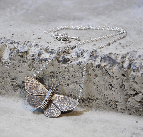 Martyn Milligan Kura Gallery Maori Art Design Aotearoa New Zealand Rinopai Jewellery Sterling Silver Purere Moth Pendant