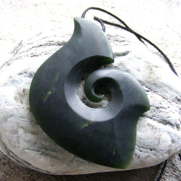 Greenstone fish-hook or matau pendant by Raegan Bregmen