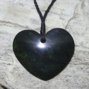 Heart shaped greenstone pendant by Raegan Bregmen