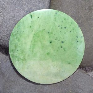 Large NZ greenstone kopae or disc by Raegan Bregmen