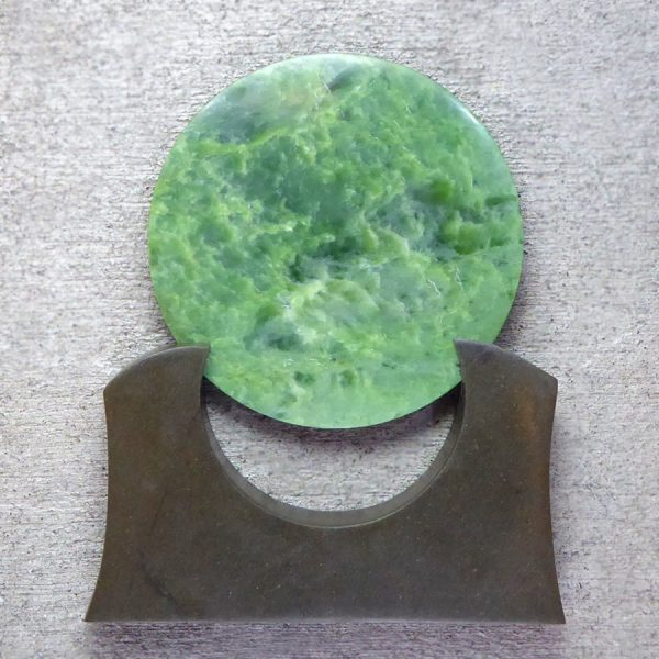 Large NZ greenstone kopae or disc by Raegan Bregmen