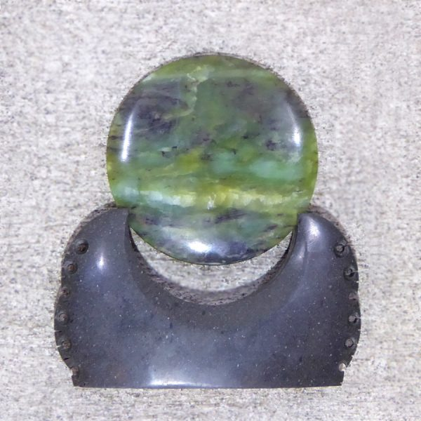 NZ greenstone kopae or disc by Raegan Bregmen